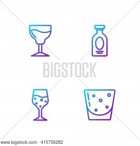 Set Line Glass Of Rum, Champagne, Wine Glass And Alcohol Drink Rum. Gradient Color Icons. Vector