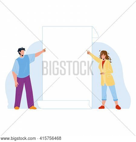 Look On Paper List Showing Boy And Girl Vector. Young Man And Woman Talking Look And Pointing On Bla