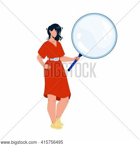 Girl Looking Through Magnifying Glass Tool Vector. Young Woman Holding And Looking Through Magnifier