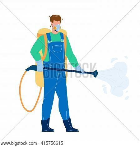 Pest Control Worker Spraying Pesticides Vector. Pest Control Service Working Man Spray Chemical Toxi