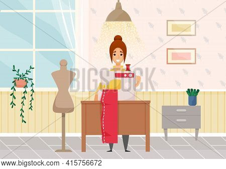 Beautiful Young Fashion Designer Dressmaker Woman Using Sewing Machine To Sew Red Dress In Atelier
