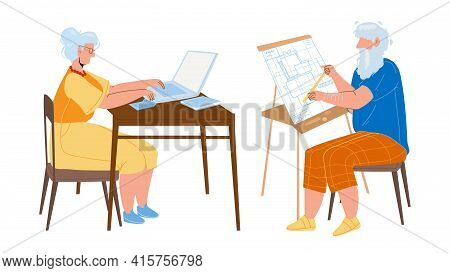 Man And Woman Senior Working Togetherness Vector. Grandmother Working At Laptop And Grandfather Engi