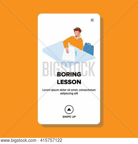 Boring Lesson Listen Schoolboy In Classroom Vector. Boring Lesson Listening Boy, Writing Information