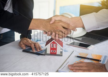 Businessman Shake Hand Agreement For Sale Contract House Success