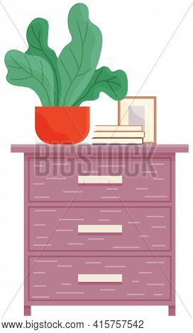 Vector Elements Of Living Room Furniture With Commode, Evergreen Potted Plant, Stack Of Books