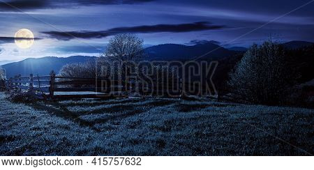 Trees Behind The Fence On The Grassy Meadow At Night. Spring Rural Landscape In Full Moon Light. Dis