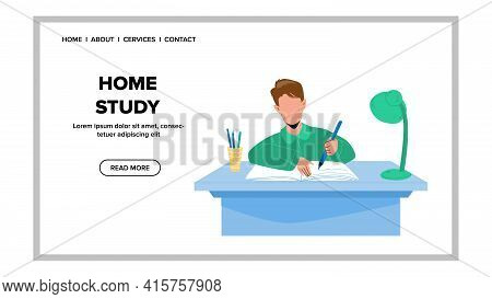 Home Study And Homework Doing Pupil Boy Vector. Schoolboy Writing Exercise In Notebook With Pencil,