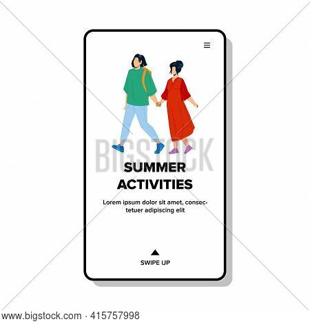 Summer Activities Have Man And Woman Couple Vector. Friends Boy And Girl Having Summer Activities An