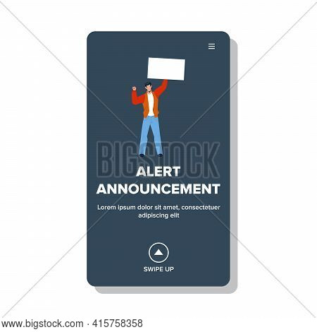 Alert Announcement Banner Hold Young Man Vector. Important Information Or Alert Announcement Poster