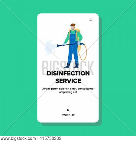Disinfection Service Worker Disinfecting Vector. Disinfection Service Prevent Infection Covid-19 Vir