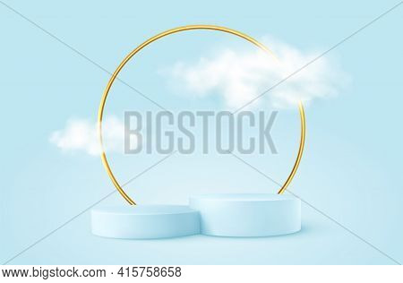 Realistic Blue Product Podium With Golden Round Arch And Clouds. Product Podium Scene Design To Show