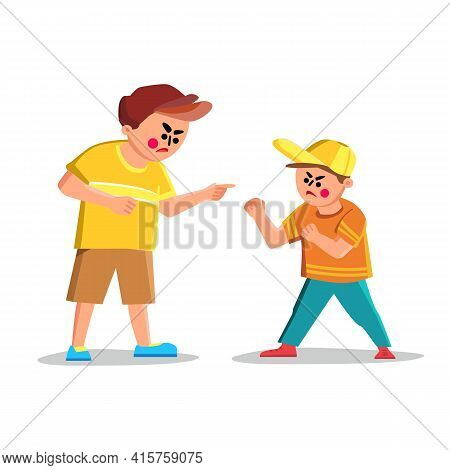 Argue Boy Screaming With Angry Friend Kid Vector. Argue Boy Scream And Abuse On Child, Confrontation