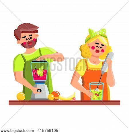 In Blender Tool Couple Preparing Smoothie Vector. Young Man And Woman Prepare Freshness Vitamin Cock