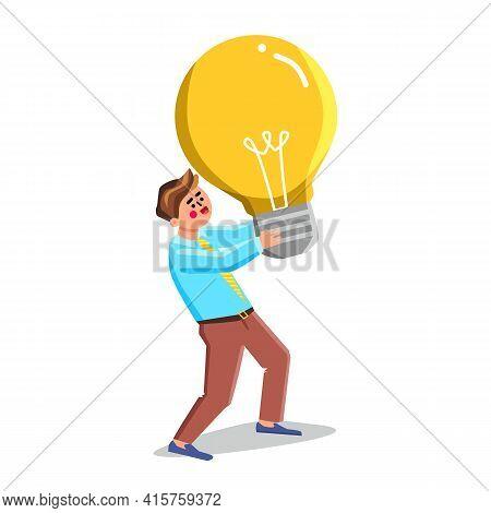 Idea Development And Realization Of Man Vector. Businessman Carrying Lightbulb, Idea Development, Bu