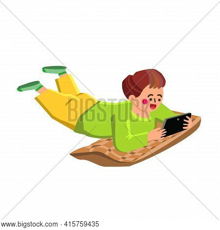 Boy Play Smartphone And Lying On Pillow Vector. Little Child Play Smartphone Game Or Communicate. Ch