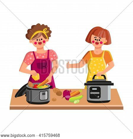 Pressure Cooker Cooking Women On Kitchen Vector. Cook Chef Young Girl Filling Pressure Cooker With F