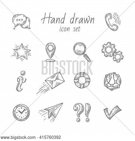 Pure Series Hand Drawn Communication , Network Icon Set Internet Icons Collection. Engraving Vector