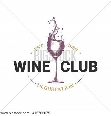 Vintage Style Wine Shop Simple Label, Badge, Emblem, Logo Template. Graphic Drink Art With Engraved