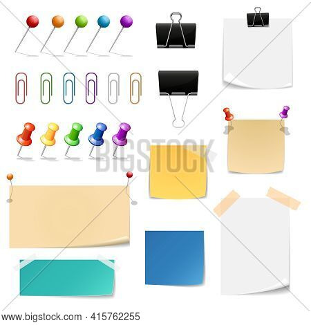 Paper Clips Binders, Note Papers. Reminder And Supplies  Office, Attach And Clamp, Vector Illustrati