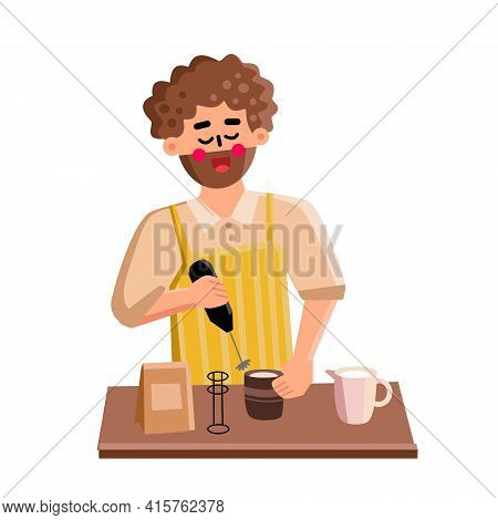 Milk Frother Tool Man Use For Prepare Latte Vector. Young Boy Barista Using Electronic Equipment For