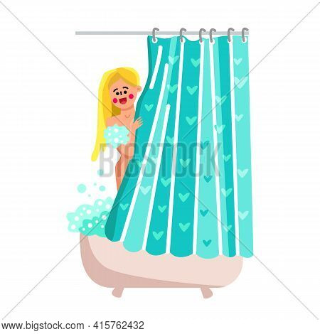Shower Curtain Bathroom Interior Accessory Vector. Young Woman Bathing With Shampoo Behind Shower Cu