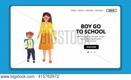 Boy Go To School Elementary With Backpack Vector. Cute Small Schoolboy Go To School, First Education