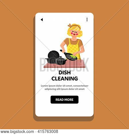 Dish Cleaning Young Housewife On Kitchen Vector. Woman Kitchenware Dish Cleaning With Napkin, Housew