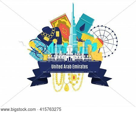 Arab Emirates, Vector Illustration. Uae Sign, Modern Urban Silhouette, Office Building. Traditional