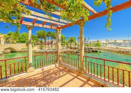 Cascais, Portugal - August 6, 2017: Scenic Landscape From Santa Marta Lighthouse Balcony. House Of S