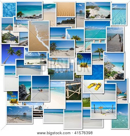 Collage of pictures evoking a trip to the Caribbean