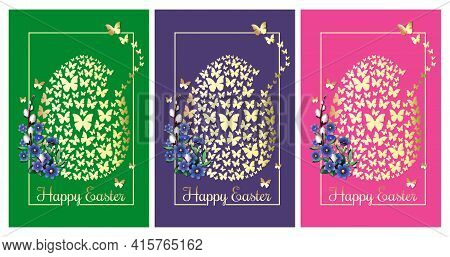 Happy Easter. Greeting Cards Set With An Easter Egg Consisting Of Golden Butterflies. Collection Of