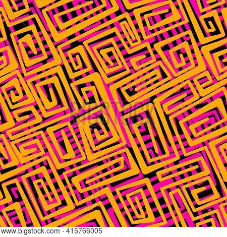 Neon Vector Seamless Abstract Pattern With Swirling Orange And Pink Stripes Of Different Thickness O
