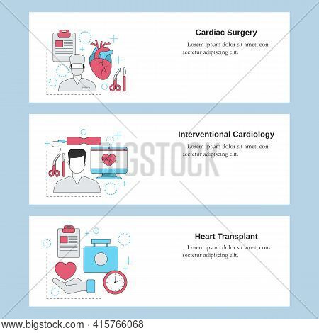 Cardiac Surgery, Interventional Cardiology, Heart Transplant. Vector Template For Website, Mobile We