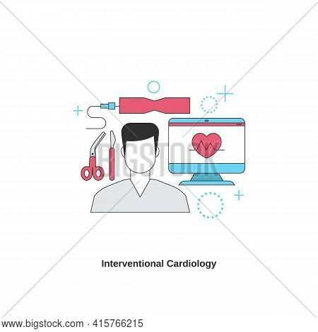 Interventional Cardiology Concept. Cardiology System Medicine Treatment. Vector Illustration.