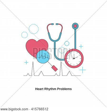 Heart Rhythm Problems Concept. Heart Disease. Vector Illustration.