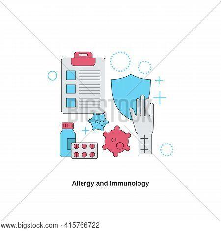 Allergy And Immunology. Immunity Health. Vector Illustration.