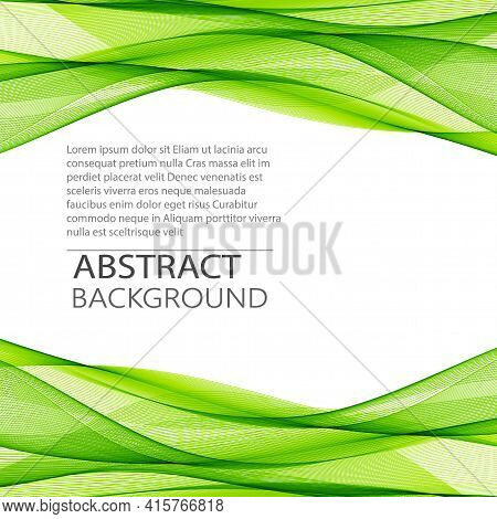 Stylish Green Horizontal Transparent Wave. Abstract Smoky Wave Line Background