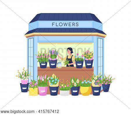 Florist In Flower Kiosk Flat Color Vector Detailed Character