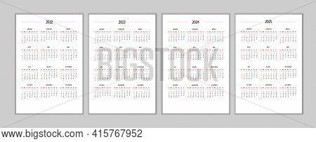 2022 2023 2024 2025 Calendar Set Classic Strict Minimalist Style. Monthly Calendar Minimalism Restra