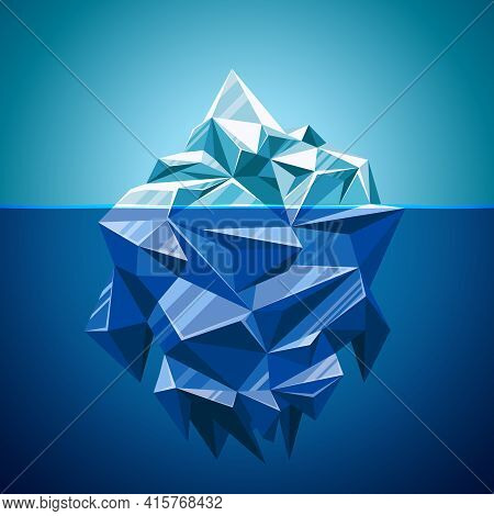 Snow Vector Iceberg Mountain In Polygonal Style. Water And Sea,  Underwater And Antarctic Landscape,