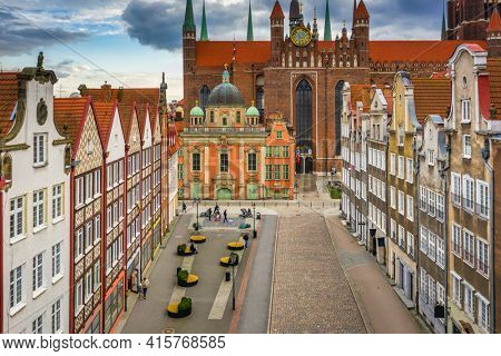 Aerial view of the old town of Gdansk with St. Mary's Basilica, Poland