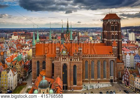 Aerial view of the St. Mary's Basilica in Gdansk at sunset, Poland