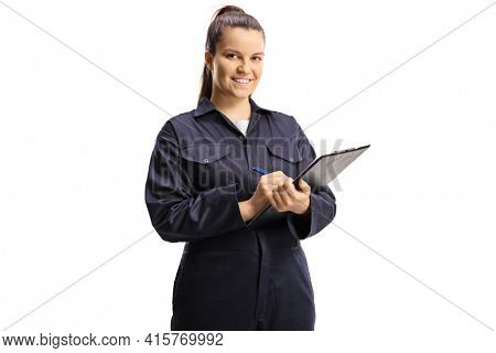 Female technician worker in a uniform holding a clipboard isolated on white background
