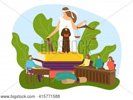 Law Court With Justice Concept, Vector Illustration. Legal Lawyer, Judge, Attorney Work For People,
