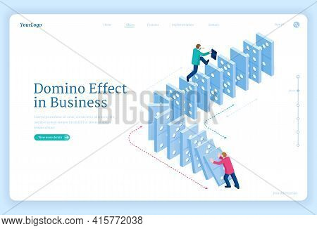 Domino Effect In Business. Concept Of Changes And Actions That Bring Disruption Or Success. Vector L