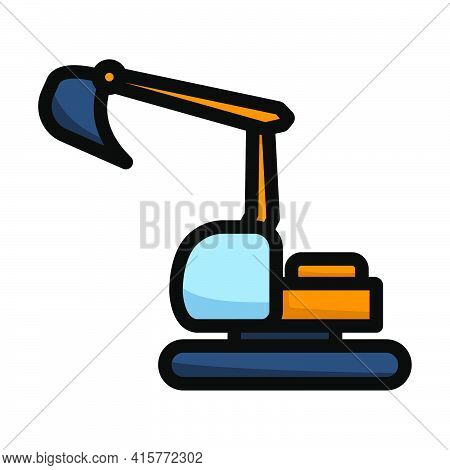 Icon Of Construction Bulldozer. Editable Bold Outline With Color Fill Design. Vector Illustration.