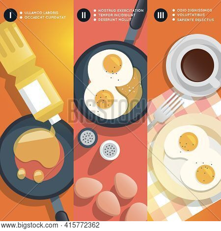 Frying Scrambled Eggs Cooking Instruction. Yolk And Pan, Oil And Coffee Cup, Breakfast Gourmet. Vect