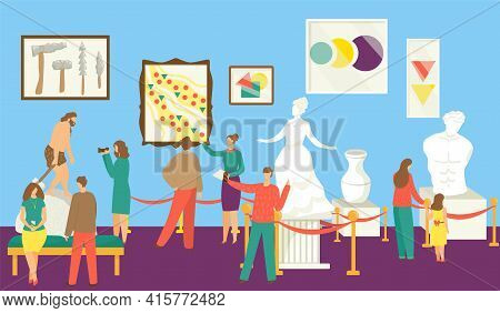 Museum Exhibition, Vector Illustration. Man Woman People Character At Art Gallery Look At Culture Ar