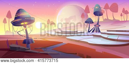 Fantasy Landscape With Magic Glowing Mushrooms And Plants At Sunset. Vector Cartoon Illustration Of