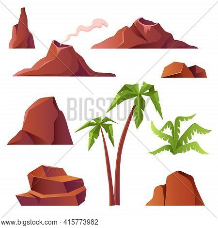 Volcano With Smoke, Mountains And Palm Trees Isolated On White Background. Vector Cartoon Set Of Pre